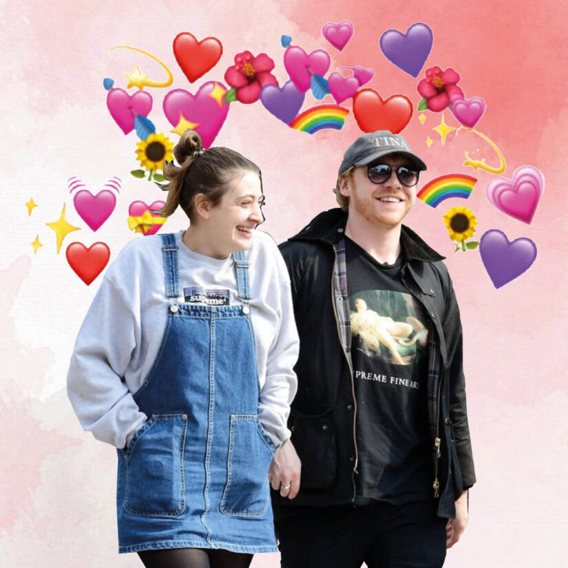 Rupert Grint and Georgia Groome surrounded by emoji hearts