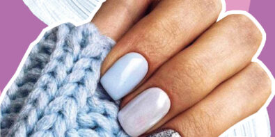 baby blue shellac nails with a silver accent nail on the ring finger