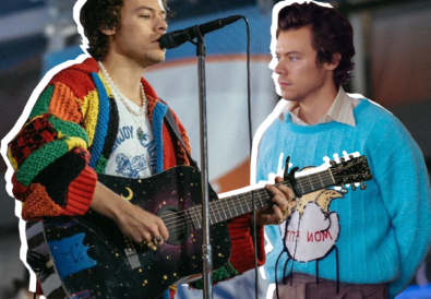 Harry playing guitar and singing into the mic wearing a red, green, yellow and orange patterned cardigan. Behind him is another image of himself wearing a blue jumper with a yellow collard shirt underneath