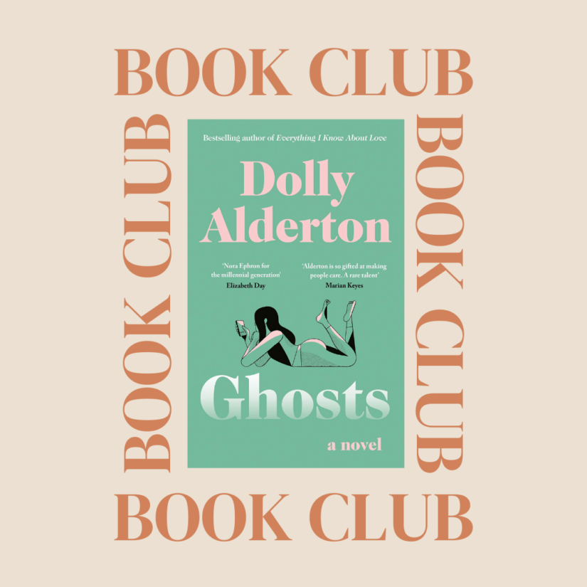 Dolly Alderton's book Ghosts on a cream coloured background with the words BOOK CLUB circling it.